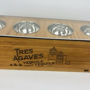 Tres Agaves Tequila Condiment Garnish Bar Caddy Wooden 4 Fruit Holder