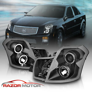 Dual Led Halo 2003 2004 2005 2006 2007 Cadillac Cts Black Projector Headlights
