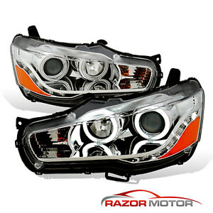 2008 16 Ccfl Halo Led Drl Chrome Projector Headlight For Mitsubishi Lancer Evo X