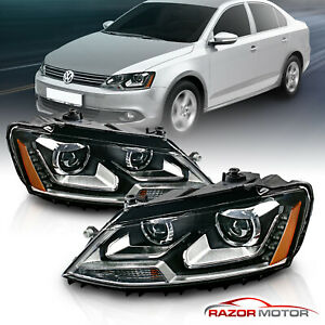 led Drl Fit 2011 2017 Vw Jetta Mk6 Black Clear Projector Headlights
