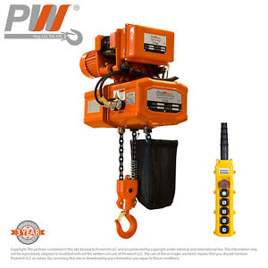 Prowinch Electric Chain Hoist Power Trolley 2 Ton 20 Ft 2 Fall 110 220v