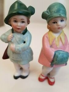 3 Vintage Bisque Hertwig Boy Hunter And Girl With Muff Marked Germany