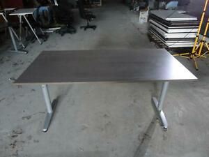 Ikea Galant Brown Silver Adjustable Height Work Surface Table Computer Task Desk