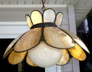 Antique 1920s Ornate Copper Trim Stained Slag Cream Glass Hanging Lamp W Shade