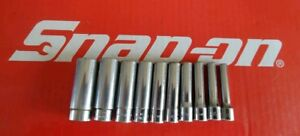 Snap On Tools 1 4 Drive 10 Piecesae Deep 6 Point Chrome Socket Set 110stmy