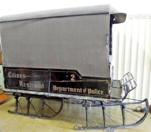 Antique Sleigh Paddy Wagon Canvas Top Restraint 2 Department Of Police