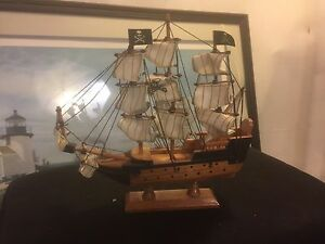 Model Ship 9 X9 Vintage Pirate Sails Solid Wood C6pics4size Details Make Offer