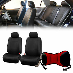Pu Leather Front Bucket Pair Black For Auto With Seat Back Cushion Pad Red Auto