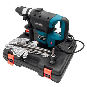 Blue 1 1 2 Electric Rotary Hammer Drill Sds Concrete Tile Breaker Chisel Kit