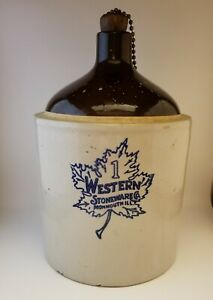 Maple Leaf Western Stoneware Co 1 Gallon Moonshine Whiskey Jug 1920 30 S