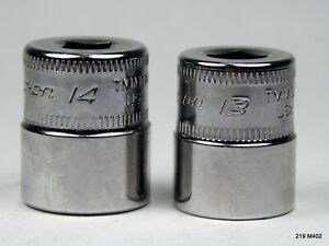 Two 2 Snap On Tools Usa 1 4 Drive 13mm 14mm Shallow Socket 12 Point