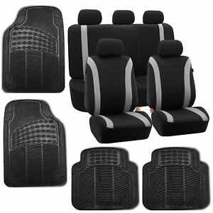 Car Seat Covers Gray Set For Auto W head Rests Rubber Floor Mat