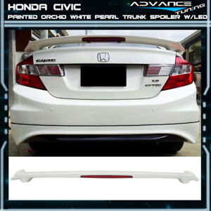 Fits 12 15 Civic Oem Painted Color Orchid White Pearl Nh788p Trunk Spoiler Led