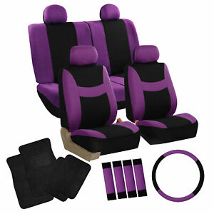 Full Set Seat Covers Purple W Steering Cover Belt Pads Black Carpet Mats