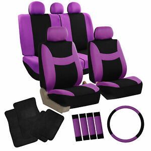 Seat Covers Full Set Purple W Steering Cover Belt Pads Black Carpet Mats
