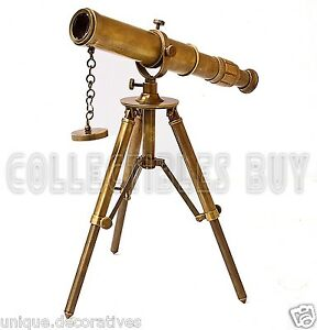 Maritime Brass Standing Tripod Telescope Vintage Folding Portable Marine Scope
