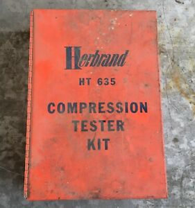 Vintage Herbrand Model Ht 635 Engine Compression Tester Kit Test Gauge Metal Box