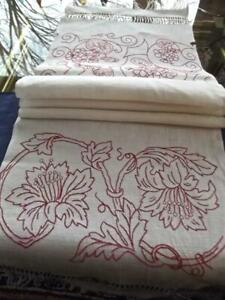 Antique Victorian Textile Homespun Linen Bath Towel Red Floral Embroidery 15x65