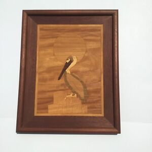 Wood Inlay Marquetry Picture Pelican Vintage 15x12 Mahogany Aspen Ash Oak