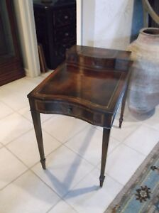 Antique Weiman Mahogany Leather Top Step Back 2 Drawer End Table