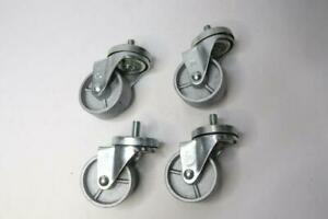 4 Pack Steel Swivel Casters 3 X 1 1 4 Round Mounting Plate 1 2 13 Threads X 1