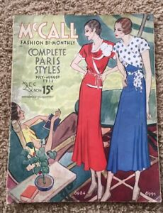 Vintage Mccall Quarterly Sewing Pattern Magazine 1932 Complete Paris Style