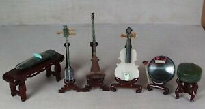6 Chinese Jade Hardstone Musical Instruments