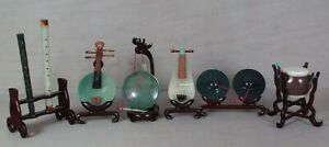 7 Chinese Jade Hardstone Musical Instruments