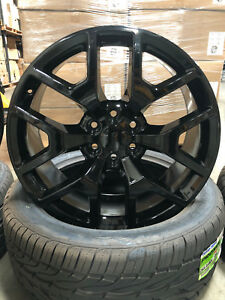20 Gmc Sierra Oe Replica Wheels 33 Tires Gloss Black Rims Silverado Yukon Chevy