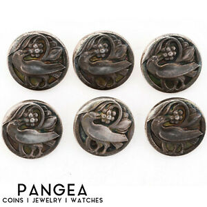 Set Of 6 Antique Estate Sterling Silver Georg Jensen Iconic Bird Buttons 43