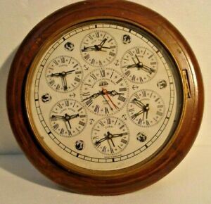 Large Made For Royal Navy 7 Country Wall Clock Wooden Brass 2802