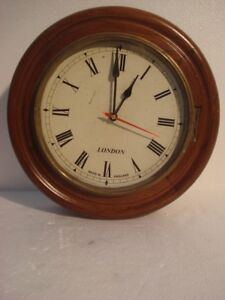 Large Vintage Style London Wall Clock Wooden Brass 2797