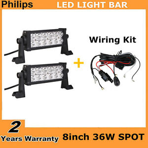2x 8inch 36w Led Light Bar Cars Spot Offroad Ute Atv Driving For Jeep Wiring Kit
