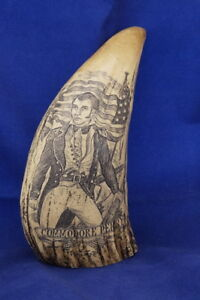 Scrimshaw Commodore Perry Reproduction Of Vintage Whale Tusk Faux