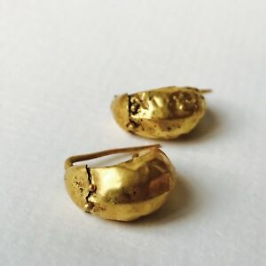 Unusual Pair Of Matching Ancient Roman Gold Earrings Elegant Jewellery