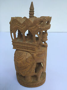 Antique Indian Sandalwood Carving Of Elephant Carriage