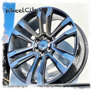 24 X10 Hyper Black Machine 2018 Cadillac Escalade Oe Replica Wheels 6x5 5 24