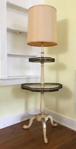 Vintage Mid Century Mcm Floor Lamp Side End Table Hollywood Regency W Two Tiers