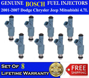 Set Of 8 Genuine Bosch Fuel Injectors For 2001 2007 Jeep Grand Cherokee 4 7l V8