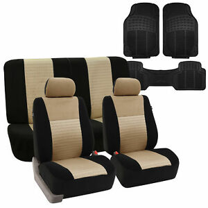Full Interior Set Beige Seat Covers For Auto W Black Rubber Floor Mats