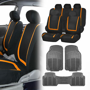 Black Orange Car Seat Covers With Gray Rubber Floor Mats For Auto Car Suv