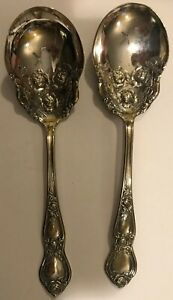 2 Antique Sugar Shell Spoon Silverplate R C Co Heavy Rose Pattern Excellent