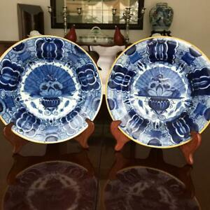Pair Of Antique Dutch Delft Blue And White Fantail Plates C 1740