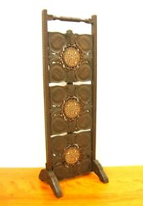 Antique 3 Tier Table Anglo Indian Carved Teak Wood With Inlay Folding