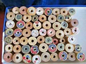 Vintage 60 Wood Sewing Thread Spools Coats Clark J P Star Corticelli Stamp
