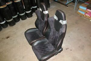Ford Mustang Pvc Leather Red Diamond Style Stitched Racing Seats With Brackets