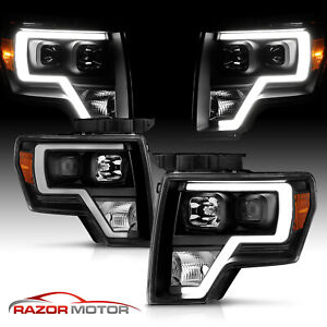 2009 14 Black Headlights Pair For Ford F150 Led Bar Drl Driver And Passenger