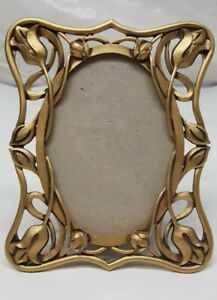 Brushed Gold Tone Picture Frame Floral Metal Frame 6 5 X 5 Gorgeous Design