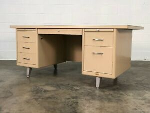 Mid Century Industrial Steel Tank Tanker Desk With Vinyl Top