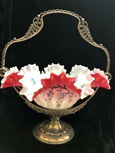 Victorian Meriden B Company 0161 Brides Basket W Hand Painted Glass Bowl